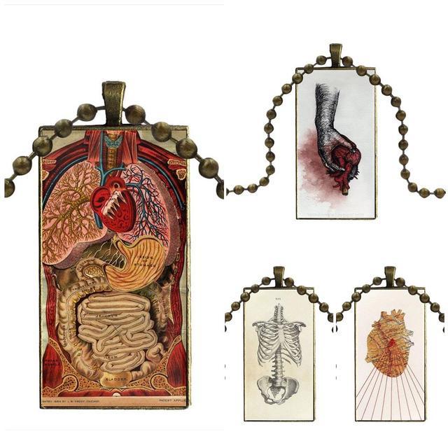 anatomical heart diagram 2009 jeep wrangler unlimited radio wiring ej glaze design fashion vintage glass women rectangle necklace pendants for unisex medical