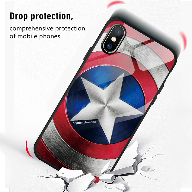 Image 5 - Captain America Shield Marvel Tempered Glass Cover For Samsung Galaxy S8 S9 A50 Plus Note8 Note9 A8 A7 2018 M10 M20 J4 Plus Case-in Fitted Cases from Cellphones & Telecommunications