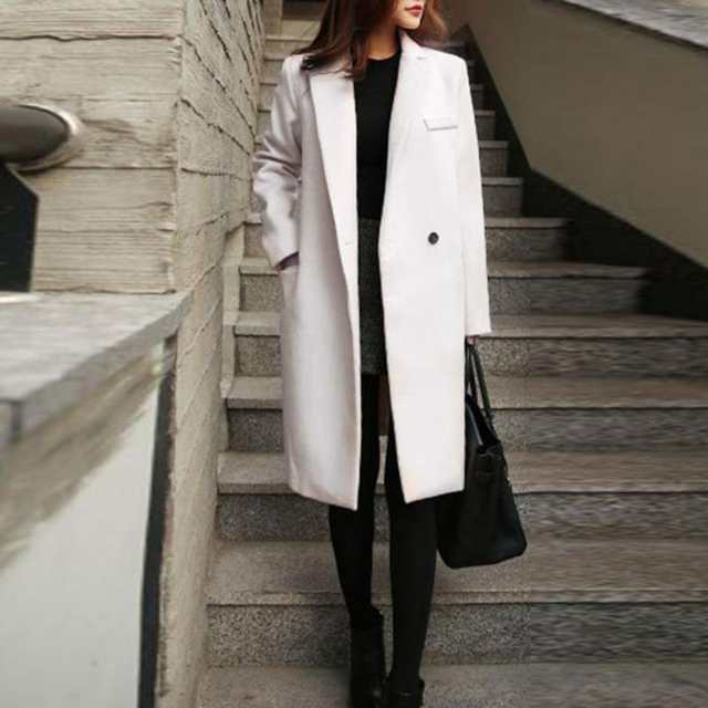 2018 Hiver Manteau Longue Femme Manteau En Cachemire Mode Européenne Veste manteau BlancNoir col Rabattu mince Style Outwear