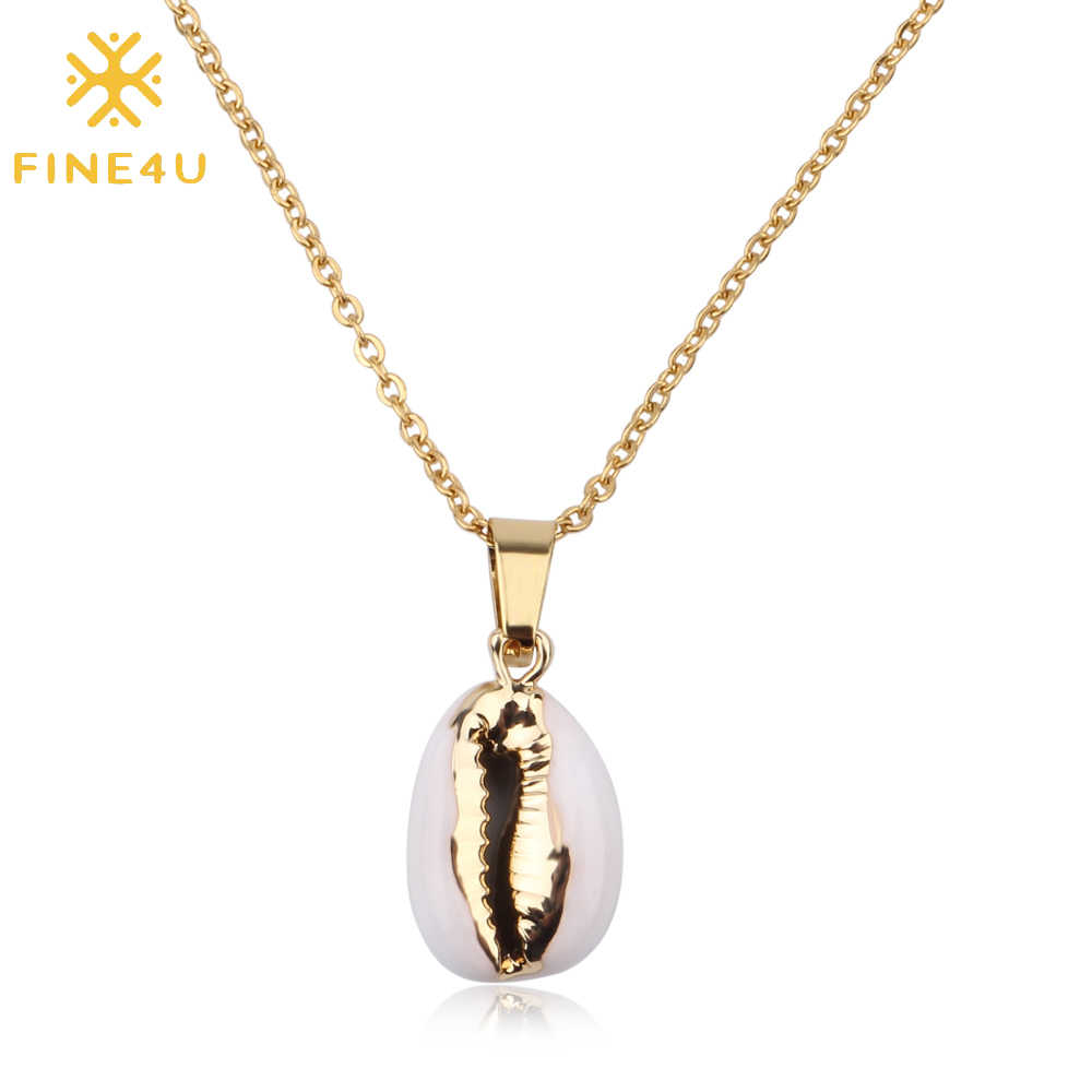 FINE4U N176 Bohemia Beach Jewelry Natural Sea Shell Pendant Necklace Stainless Steel Chain Necklace For Women Girl Gifts
