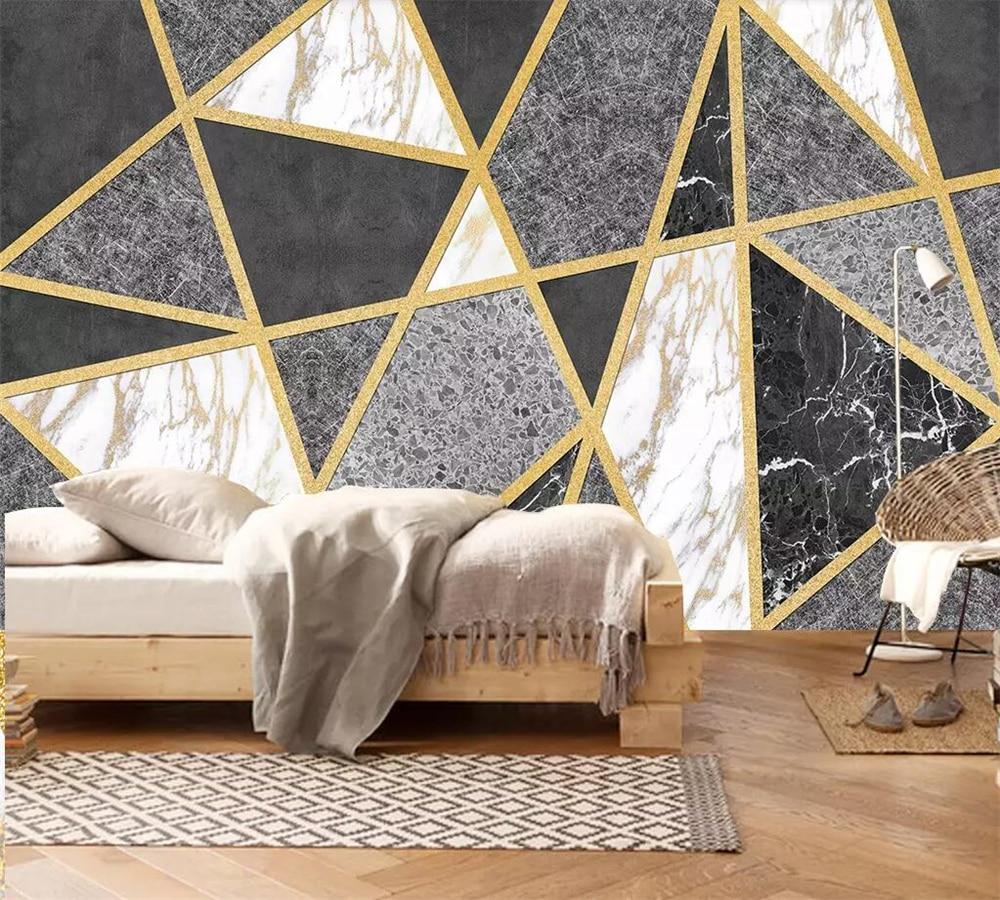 Beibehang Custom 3d Wallpaper Geometric Lines Marble