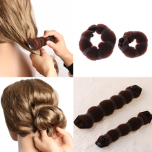 1 Set Elegant Buns Hair Style Coffee Color Hot Fashion Women Lady Donut Bun Make