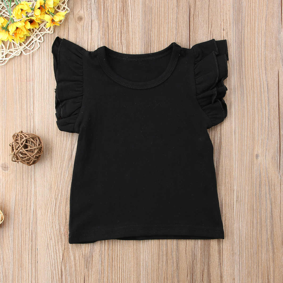 Summer Kids Baby Girl Short Sleeve T-Shirt Cotton Ruffle Summer Tee Shirt Top Sunsuit Solid Round Neck Clothes