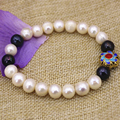 Fashion 9-10mm natural black white nearround pearl beads strand bracelets for women gold plated cloisonne jewelry 7.5inch B3095