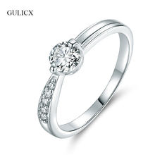 GULICX New Brand Simple Plain Finger Rings For Women White Gold-Color Cubic Zirconia Rings For Wedding Mother's Day Jewelry R037(China)