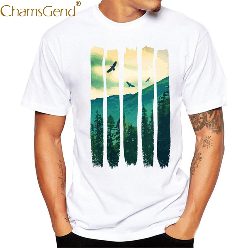 Chamsgend Mens Nature Scenery Print Simple Style Casual White T Shirt Man Boy Tees 3XL,4XL 80207