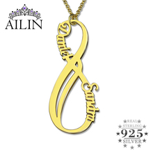 Vertical infinity Name Necklace  Gold Color Silver Vertical Nameplate Personalized Mother'e Necklace Infinity Jewelry