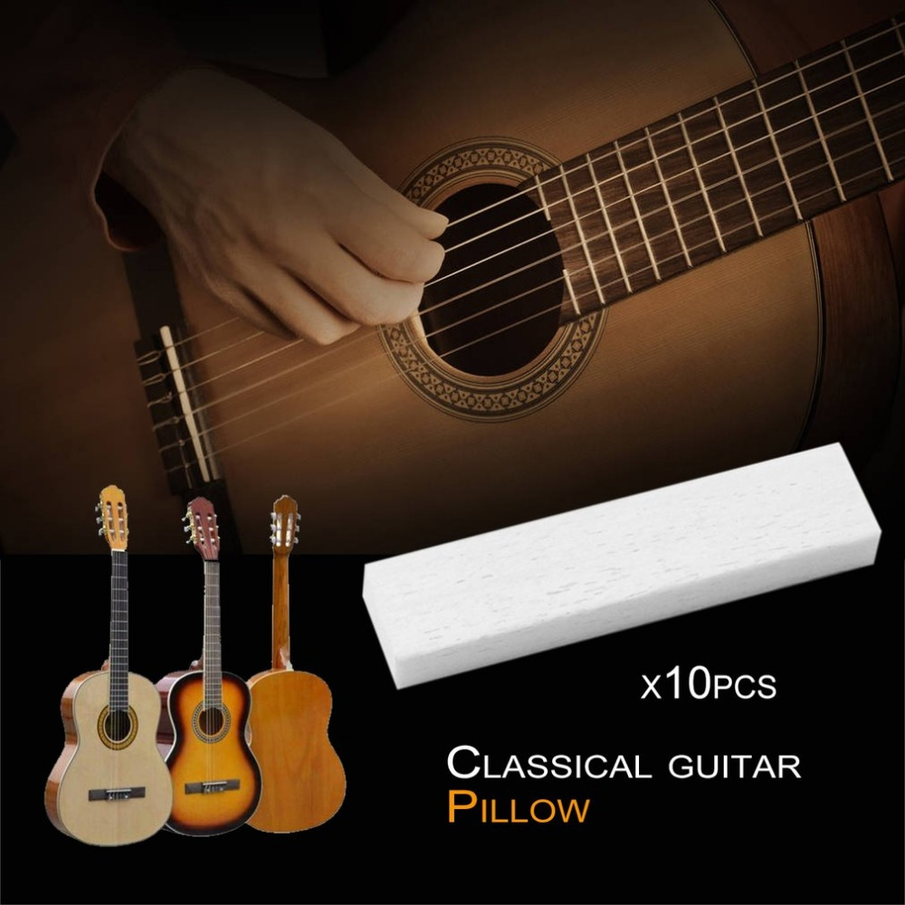 10Pcs/Set Best Guitar Bass Real Blank Bone Nut for LP Folk/Classical Electric Acoustic Guitar Bone Nut Saddle White Replacement