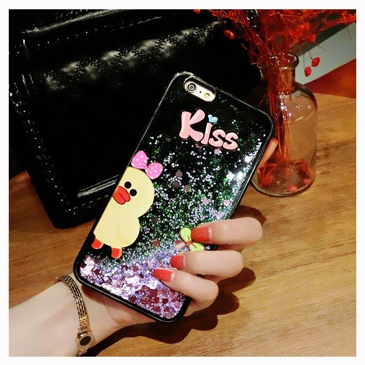 Vivo V9 Y85 case Bling Hybrid Liquid quicksand kiss rabbit duck with lanyard Glitter Rubber TPU Protective Case For Vivo V9