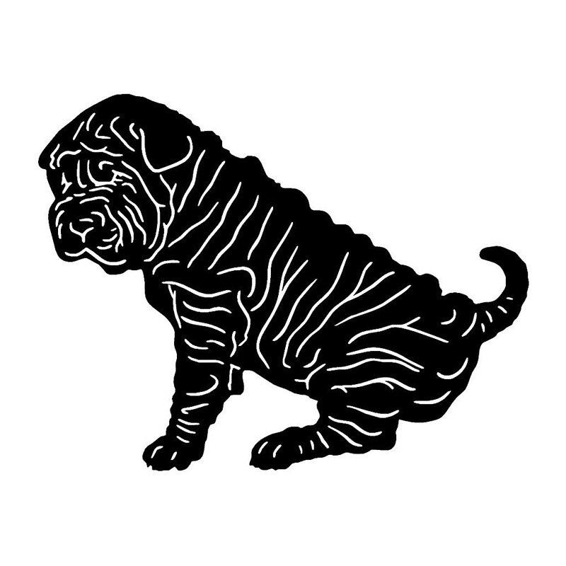 Классические забавные креативные наклейки Shar Pei 16,5*12,7 см для украшения тела собаки, виниловые наклейки, черный/серебристый цвет