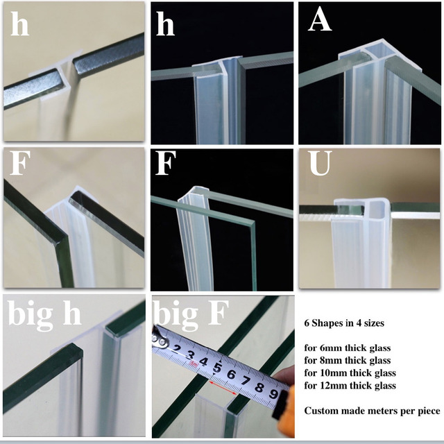 Silicone Seals Sliding Door Screen Shower Door Window Barn Bathroom Sealing  6 8 10 12mm Glass
