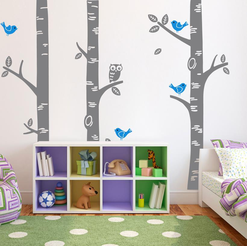 Aliexpress.com : Buy Large Owl Birds Birch Tree Wall Decal Sticker Baby  Room Nursery Bedroom Home Mural Wallpaper Decoration 250*250CM Christmas  Tree From ... Part 49