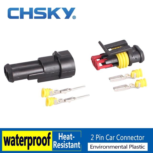 CHSKY 2 Pieces 2 Pin Wire Auto Connector Plug Set Sealed Waterproof Hid Connector Model Dj7021y-1.8 Modified Car Connector 2 Pin