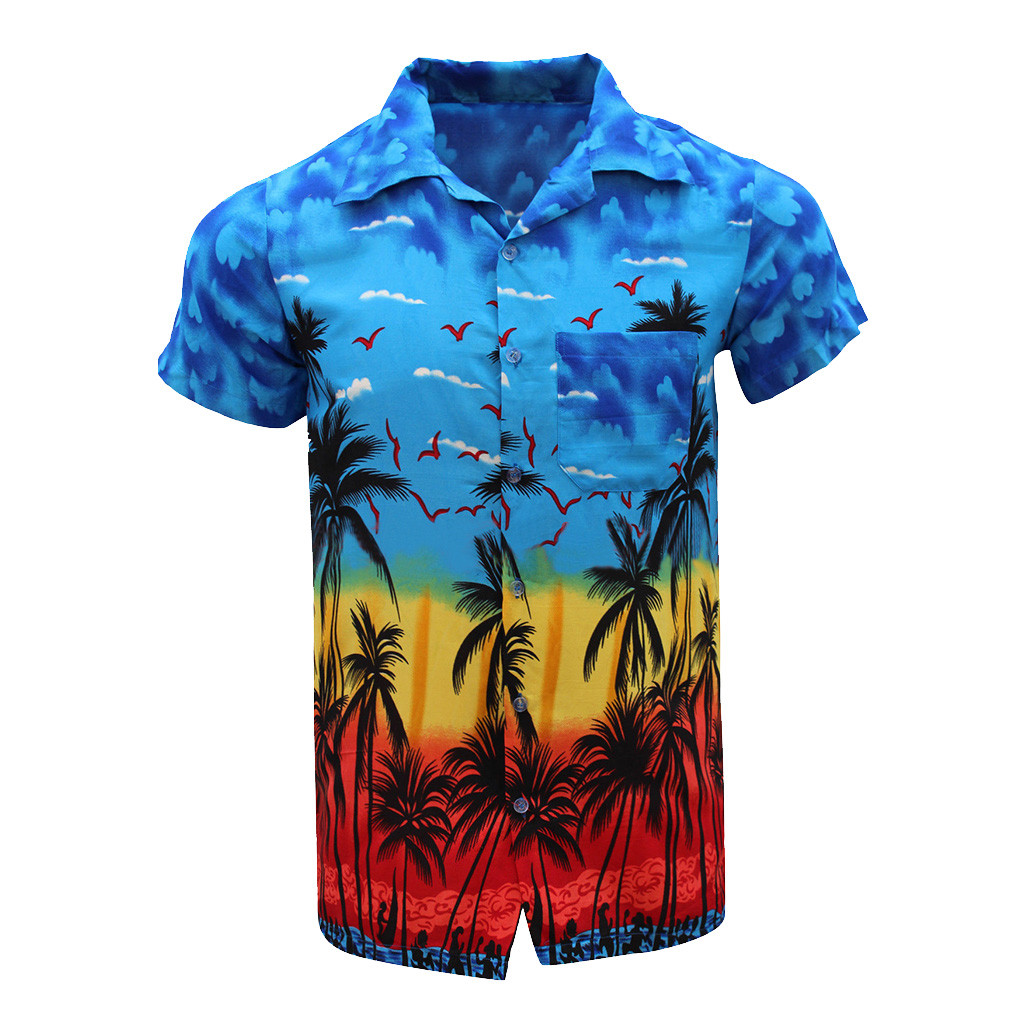 2019 Summer Men Shirt Casual Button Hawaii Print Beach Short Sleeve Quick Dry Shirt Top Camisa Masculina Hawaiian Shirt