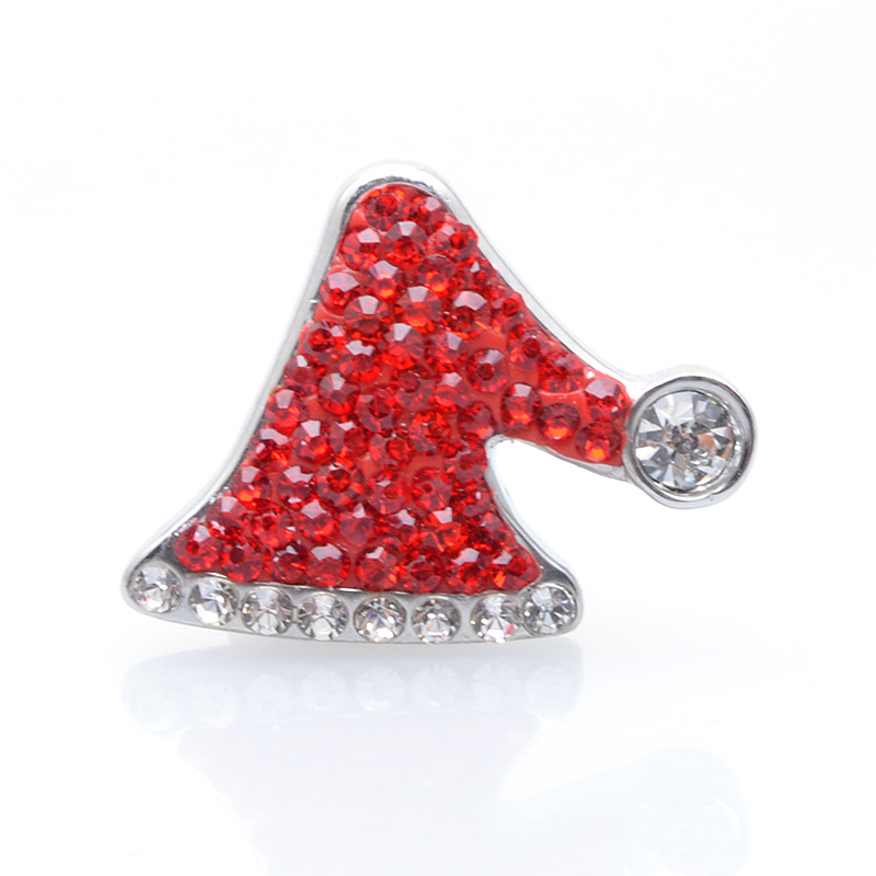 New Style 10pcs Red Rhinestone Christmas Hat Ginger Snap Buttons Charms Fit 18mm Snap Bracelet & Bangles Necklace Jewelry