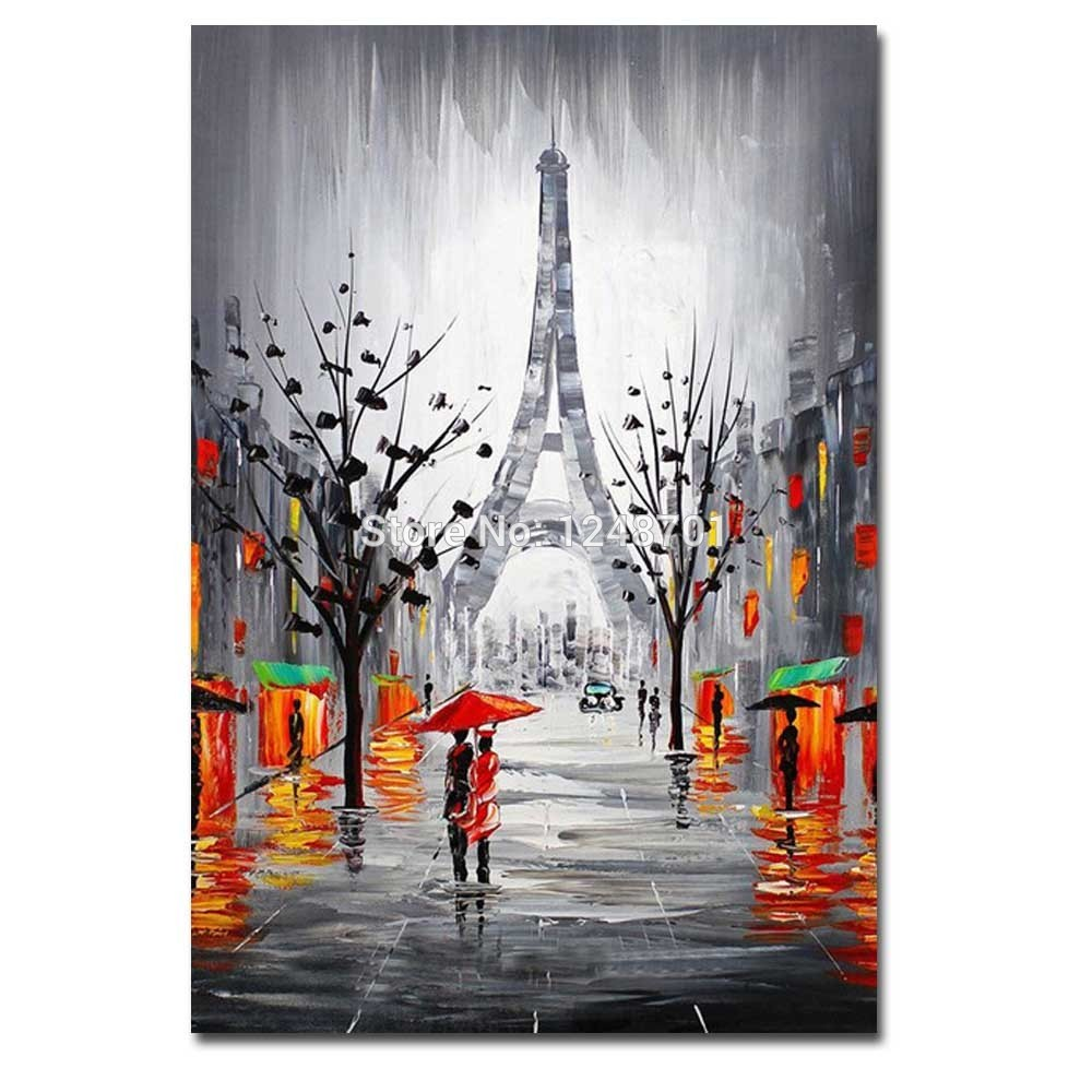 Hand Painted Abstract Effier Tower Rainy Scenery Impasto Oil Painting On Canvas Umbrella Wall Picture For Living Room Home DecorHand Painted Abstract Effier Tower Rainy Scenery Impasto Oil Painting On Canvas Umbrella Wall Picture For Living Room Home Decor