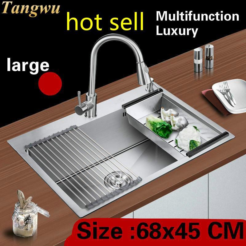 Livraison gratuite appartement cuisine manuel évier unique auge robinet extensible faire la vaisselle 304 acier inoxydable vente chaude 68x45 CM