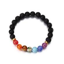 купить Oktrendy Chakra Bracelets Natural Stone Colorful Bead Bracelet For Women Charm Round Bead Men Bracelet Bangle Gift Jewelry по цене 183.02 рублей