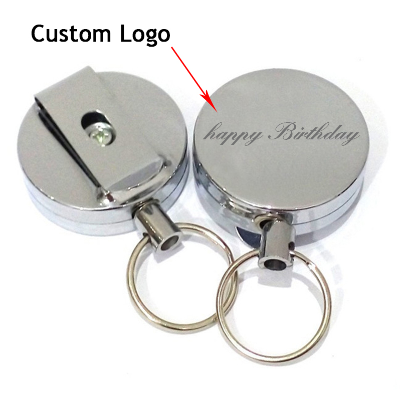 1pc Custom LOGO Keychains Metal Retractable Pull Key Rings ID Badge Lanyard Name Tag Card Holder Recoil Reel Belt Clip Gifts 4cm