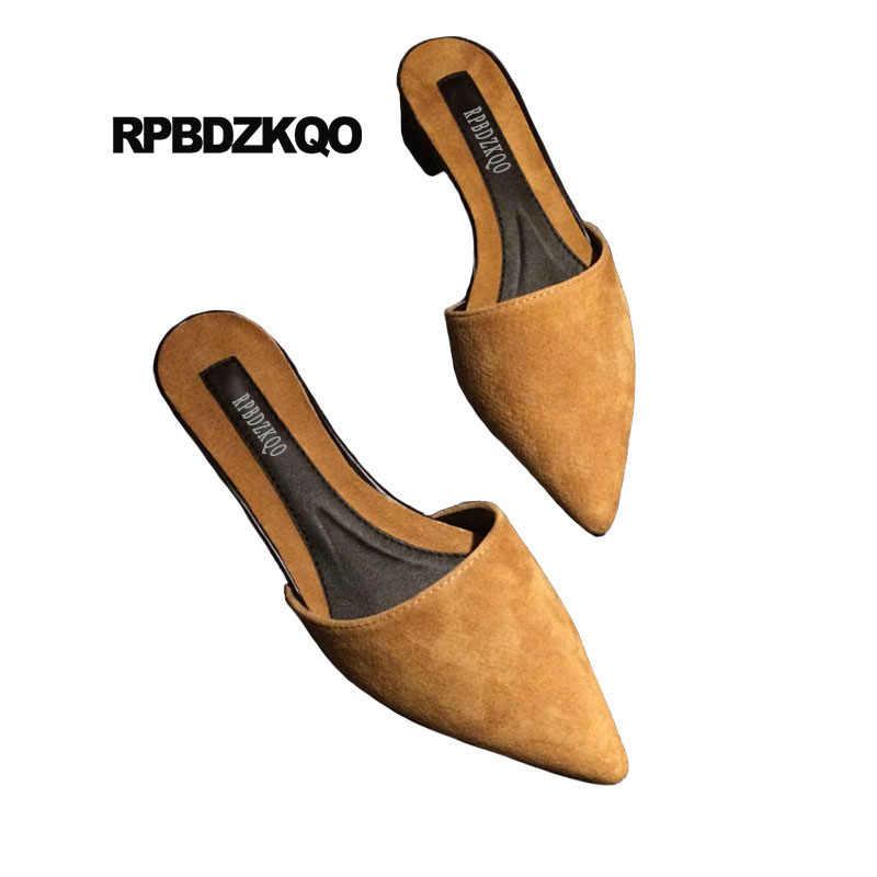 018f87b3b ... Suede Slides Red Designer Ladies Sandals 2018 Women Mules Large Size Brown  Pointed Toe Low Heel ...