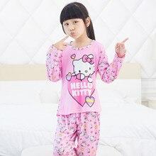 Livraison gratuite 2015 coton enfants ensembles de pyjama kitty KT pyjamas pour filles enfants pyjamas pyjama de nuit vêtements mis 3Y-12Y