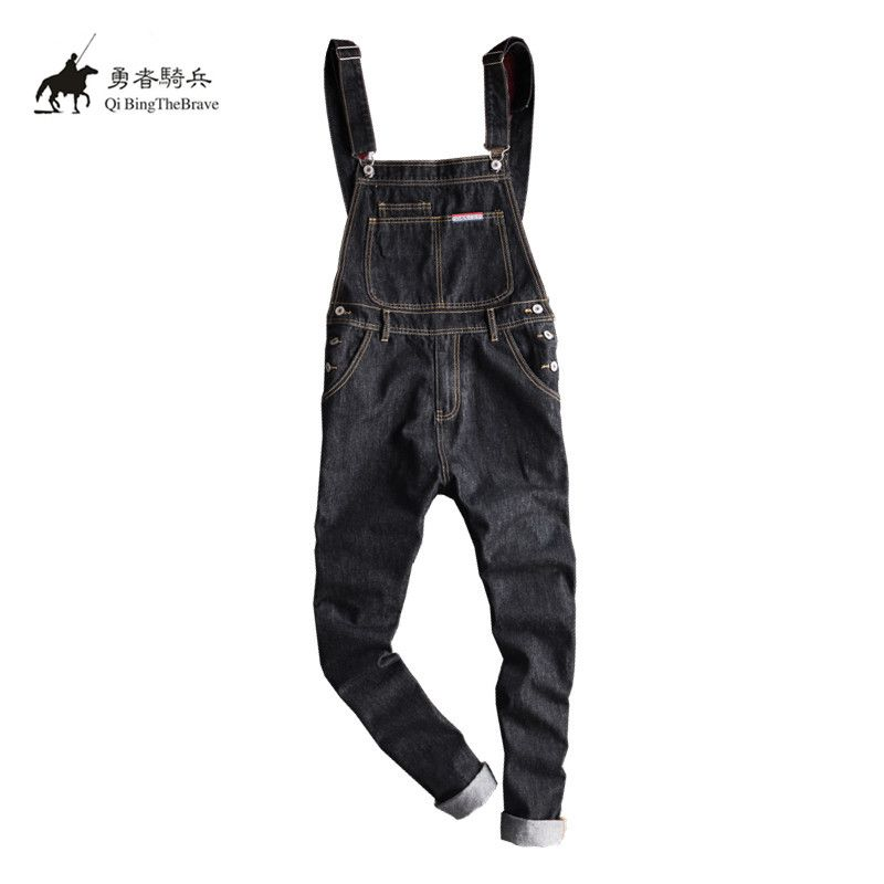 Hip Hop black Denim Jumpsuits Fashion Men's Harem jeans Pants Male Bib Multi pocket Overalls Suspenders cargo Pants 070904 male suspenders 2017 new casual black denim overalls jeans pockets men s bib jeans boyfriend jeans jumpsuits