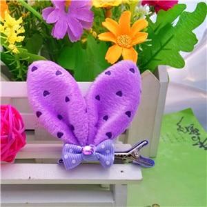M MISM, новые аксессуары для волос для девочек, Разноцветные Милые заячьи ушки, шпильки для волос в горошек, Детская Милая заколка для волос - Цвет: Purple
