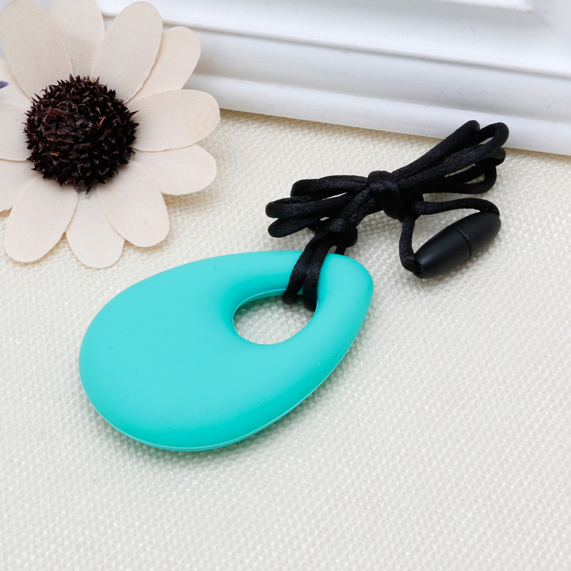 Купить с кэшбэком New Silicone Teardrop Pendant Baby Teething Necklace Teether Autism Sensory Chewing