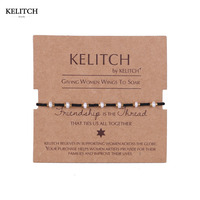 KELITCH Jewelry Newest Black Silk Rope Adjustable Chain Handmade Cute Cool Crystal Seed Beads Fashion Women