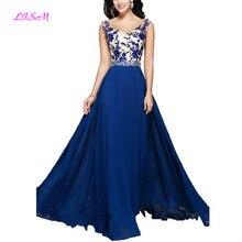 High Quality Long Evening Dresses with Handmade Applique Chiffon Formal Dress A Line Beaded Crystals Prom Gowns vestidos de gala