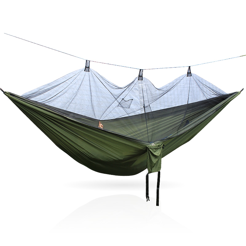 Portable High Strength Parachute Fabric Camping Hammock Hanging Bed With Mosquito Net Sleeping Hammock Outdoor Furniture