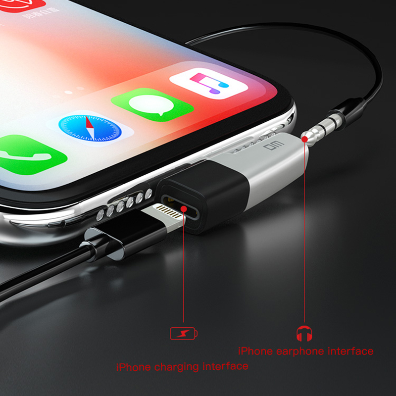 Image 4 - DM 018 Audio Aux Adapter For iPhone Xs Max Xr X 8 7 Plus Earphone Headphone Connector OTG Cable For Lightning Splitter Converter-in Memory Card Adapters from Computer & Office
