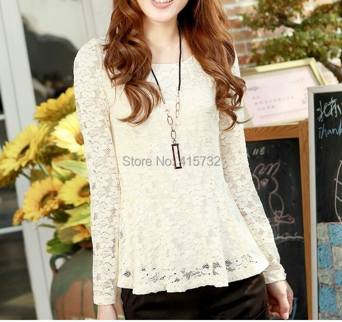 Free Shipping 2016 New Fashion Plus Size XXXXXXL Spring And Autumn Long-sleeve High Quality Lace Ladies Shirt Black And White XL
