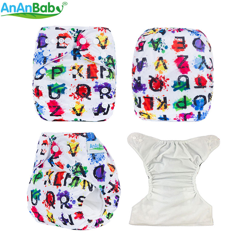 Ananbaby Cloth Nappy Digital Prints Pocket Cloth Diapers Baby Washable Nappy With Insert