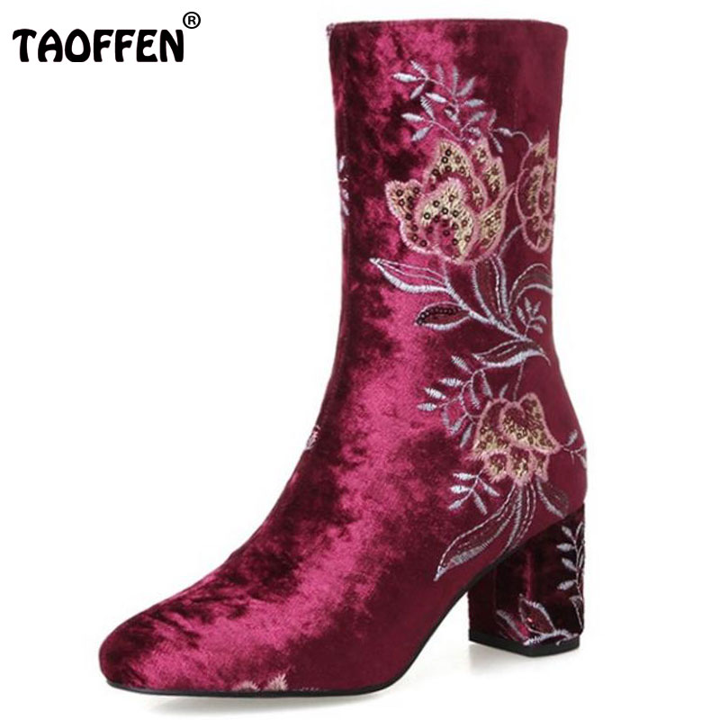 TAOFFEN Size 34-43 Women Real Leather High Heel Boots Flower Mid Calf Boots Women Warm Fur Shoes Winter Botas Women Footwears купить