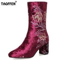 TAOFFEN Size 34 43 Women Real Leather High Heel Boots Flower Mid Calf Boots Women Warm