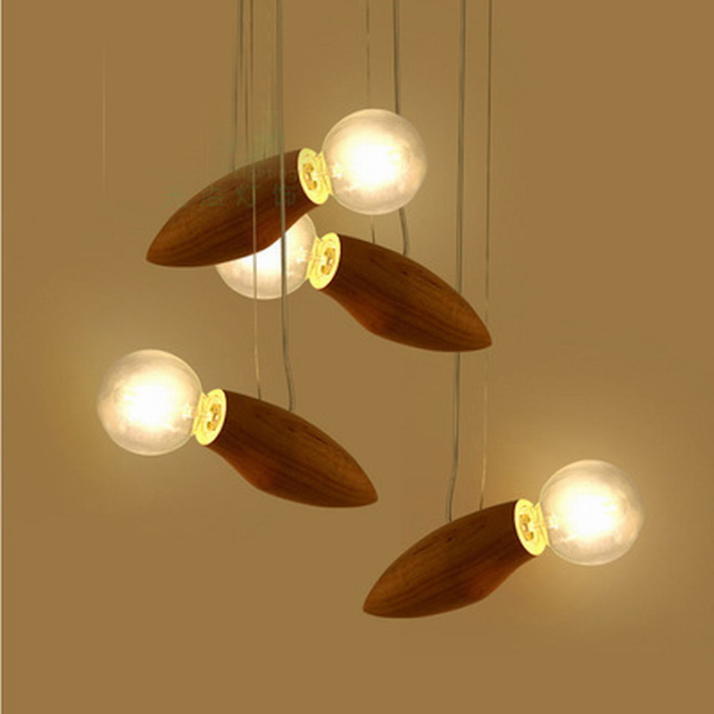 new design modern creative cartoon bee lamp balcony small wood loft pendant lamp cord loft hanging