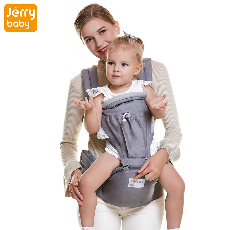 Jerrybaby 2-in-1 Ergonomic Kangaroos Baby Slings Carrier, Hipseat Adjustable Breathable Backpack Baby Carrier