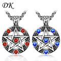 Red Blue Crystal celtic pendant Five Star couple necklace supernatural pentacle pendant SP417