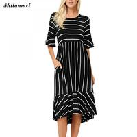 Sexy Elegant Women Dress Long Striped Dress Ruffle Sleeve Slim Belted Office Work Formal Dress Asymmetrical