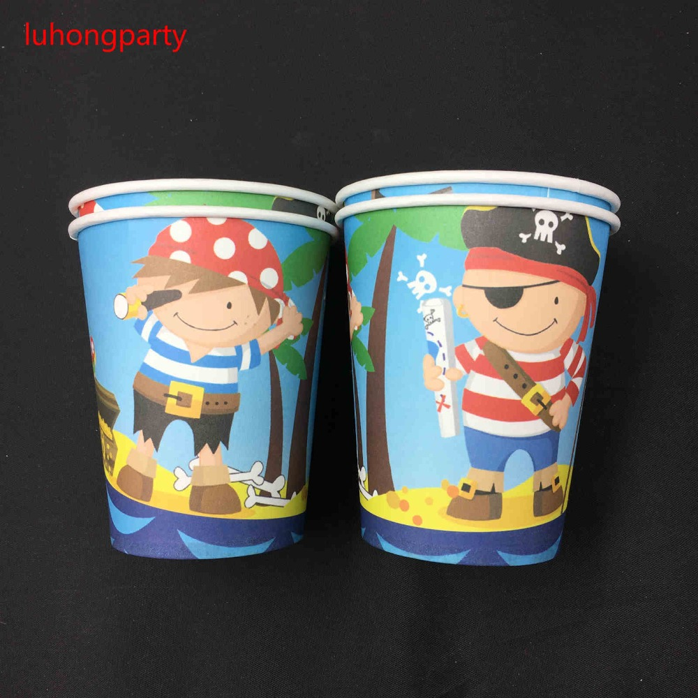 58pcs Pirate theme plate cup mask dishes Set Birthday Party Supplies Baby Birthday Party Pack for 6people use in Disposable Party Tableware from Home Garden