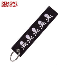 REMOVE BEFORE FLIGHT Double-sided Embroidery Dangerous Skull Keychain Bijoux for Motorcycles Gift Porte Clef Cool Key Ring Chain(China)