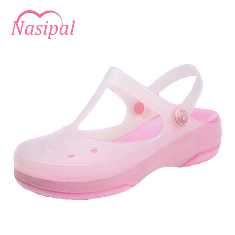 Nasipal Women Sandals Color Change Mary Jane Shoes Candy Colors Summer Croc Beach Jelly Shoes Flat Sandals Woman Shoes Joker G9 free shipping candy color jelly sandals new plastic chain beach shoes chain flat bottomed out sandals lace up chains women shoes