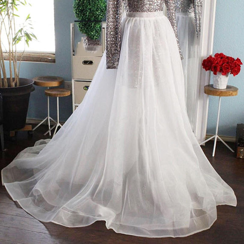 High End White Organza Long Wrap Skirts For Bridal Ruffles Sheer Sexy Floor Length Skirt Women Zipper Custom Made Overskirt 2018