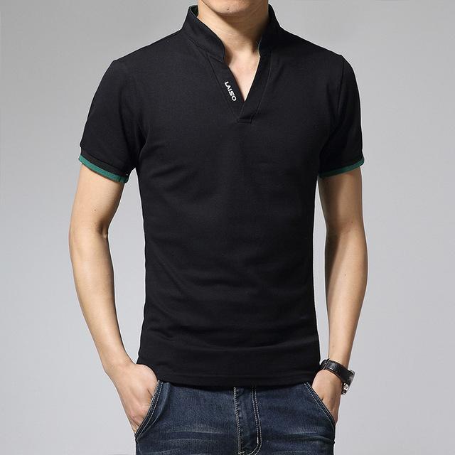 2016 nueva marca para hombre cuello en V manga corta Polo Solid camisa de algodón más el tamaño 5 Cloors cuello de pie verano Logo Polo 5XL
