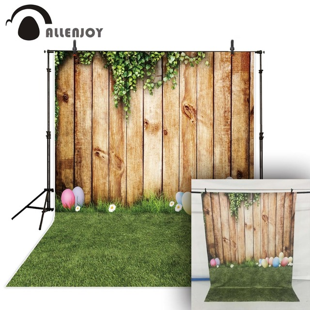 Allenjoy easter backdrops photography Wooden board grass egg child spring photo background photocall photographic photophone