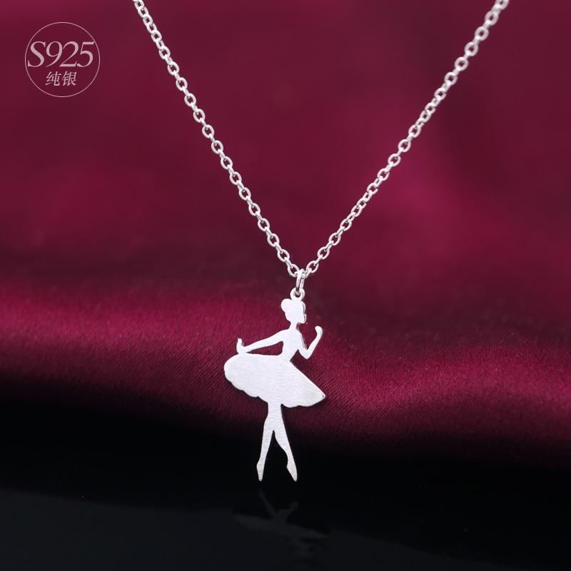 2017 new real 925 sterling silver fairy girl ballet dancer girl 925 sterling silver fairy girl ballet dancer girl necklace pendant gift for women wedding love jewelry in pendant necklaces from jewelry accessories on mozeypictures Image collections