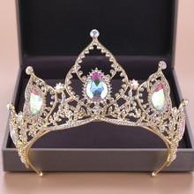 Baroque Bride Crystal Crown Wedding Headwear Colorful Crystal Tiaras  Hair Accessories Gold  Headpiece Diadem Queen недорого