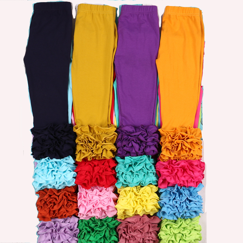 MUDBALA Boutique Toddler Girls Triple Ruffle Icing Leggings Baby Girl Clothing Bottom Solid Cotton Ruffled Pants