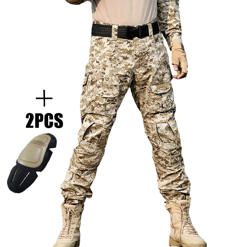 Mens Hunting Camouflage Pants Military Tactical Pants Hombre Combat Trousers Hunter Camping Climbing Hiking Pants with Knee Pads